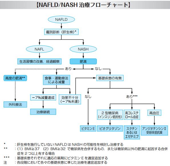 nashとnafldの治療フローチャート図